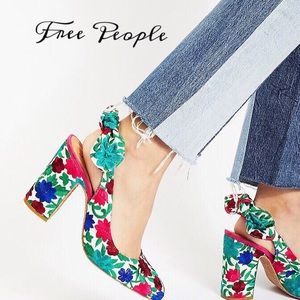 FREE PEOPLE DAZZLE DAZZLE EMBROIDERED HEELS